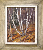 "Leonard Brooks ""Birch Trees In Fall"" - Oil on Masonite"