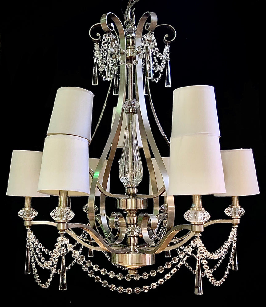 Nickel 8 Arm Crystal Chandelier with Shades