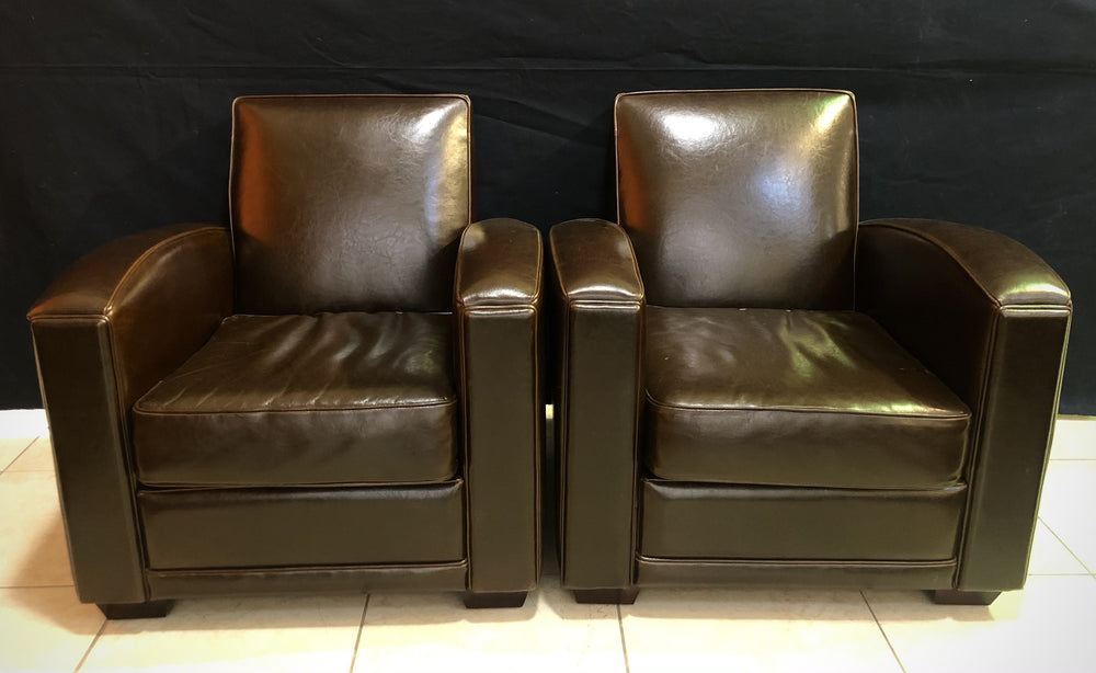 LEGACY PAIR of Brown Leather Arm Chairs