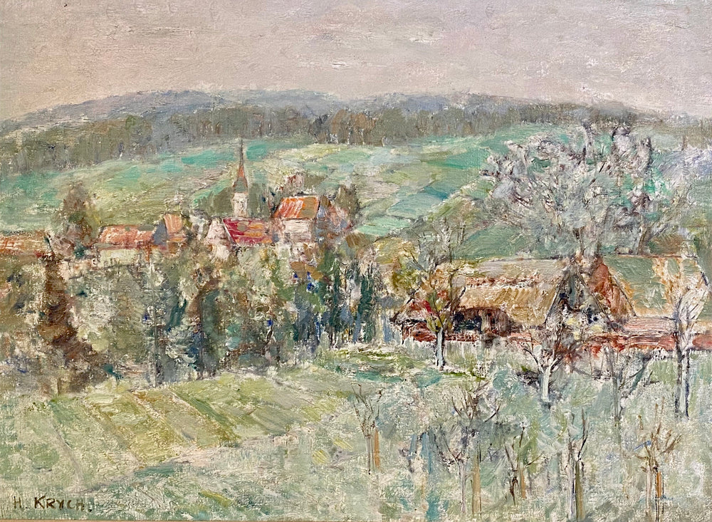 Load image into Gallery viewer, Henryk Krych - Rural Village - Oil on Canvas