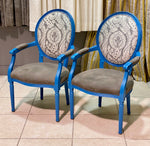 PAIR of Painted Blue Louis Style Arm Chairs
