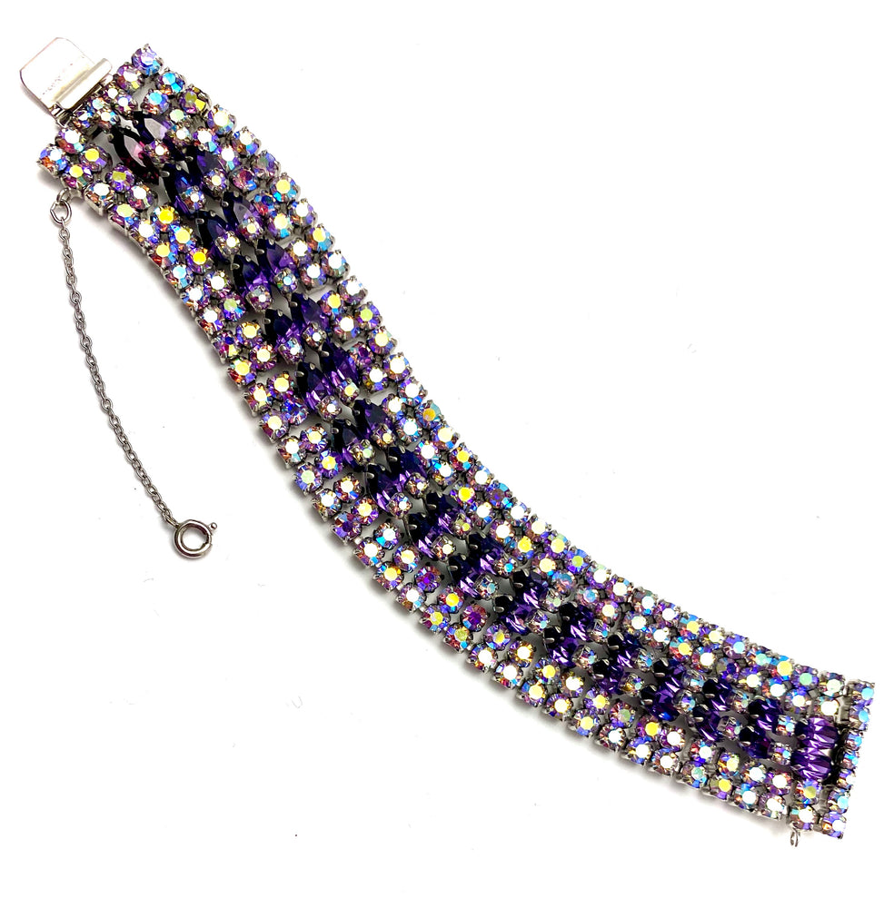 SHERMAN Purple Rhinestone Wide Bracelet