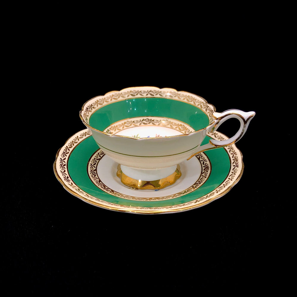 ROYAL STAFFORDSHIRE Cup & Saucer - Green Floral