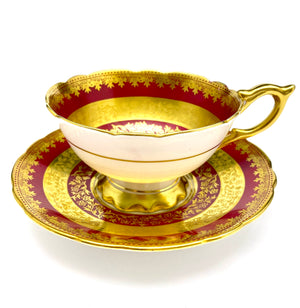 ROYAL STAFFORDSHIRE Burgundy & Gold Cup & Saucer