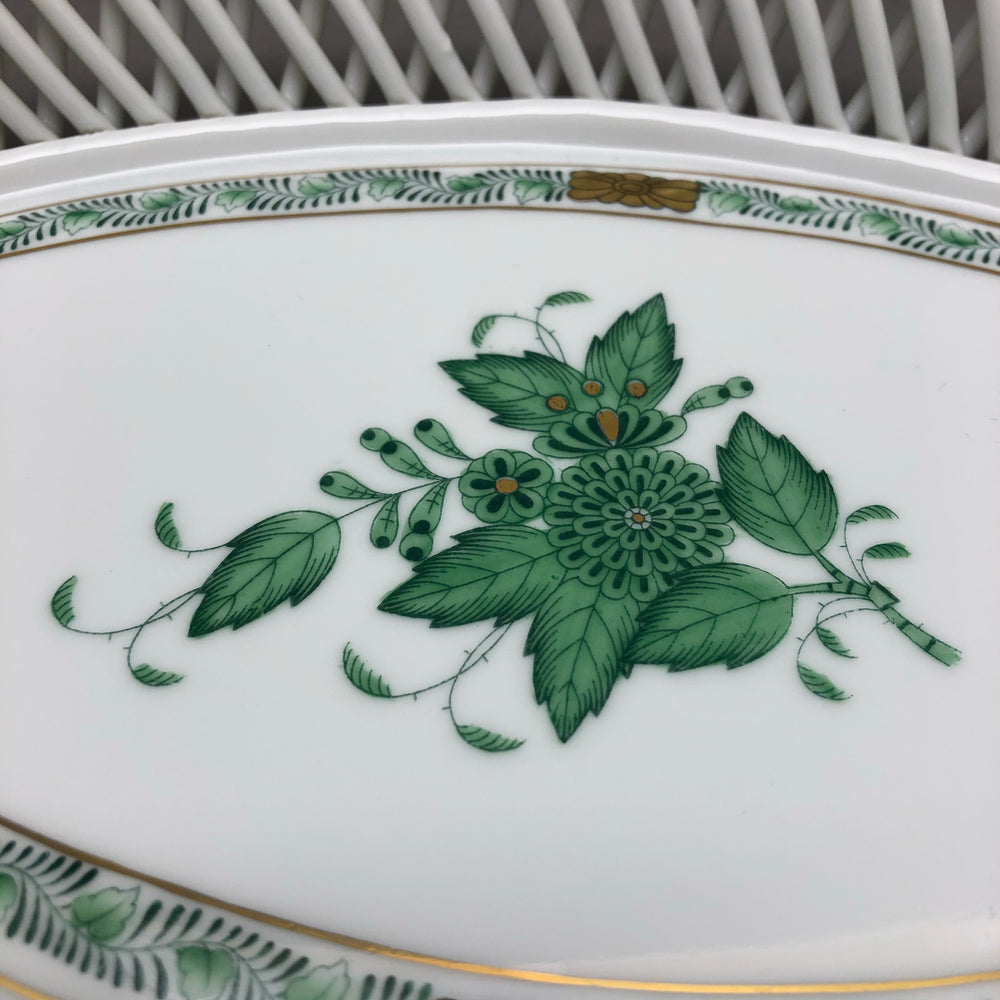 HEREND Chinese Bouquet Green Oval Tray