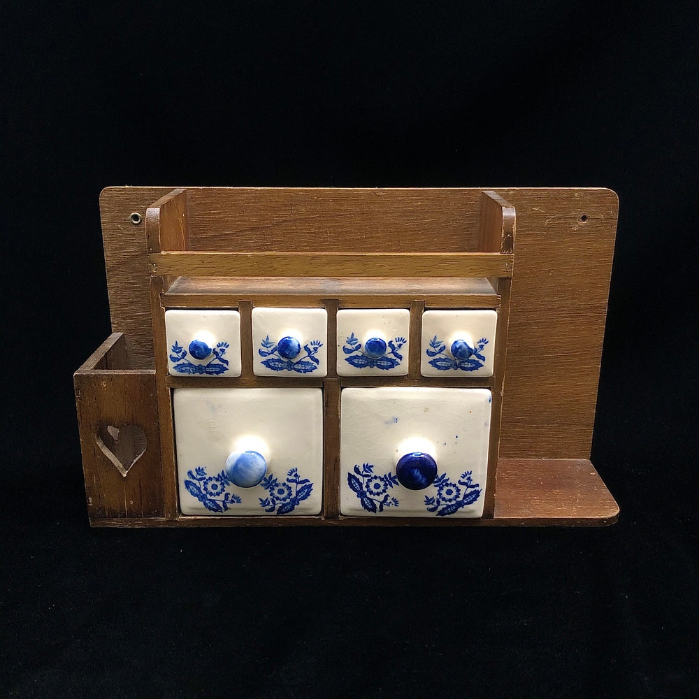 Vintage Wooden Wall Mount Ceramic Drawers