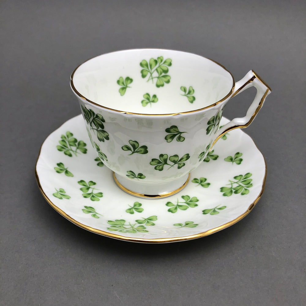AYNSLEY Cup & Saucer - Gilt, White with Green Clovers