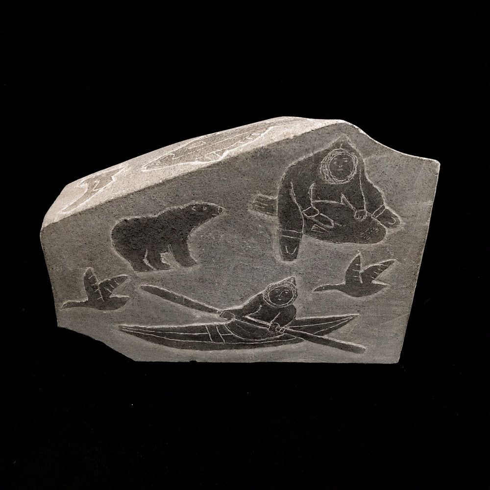 Unknown Artist -  Stone Inuit Hunt Sculpture