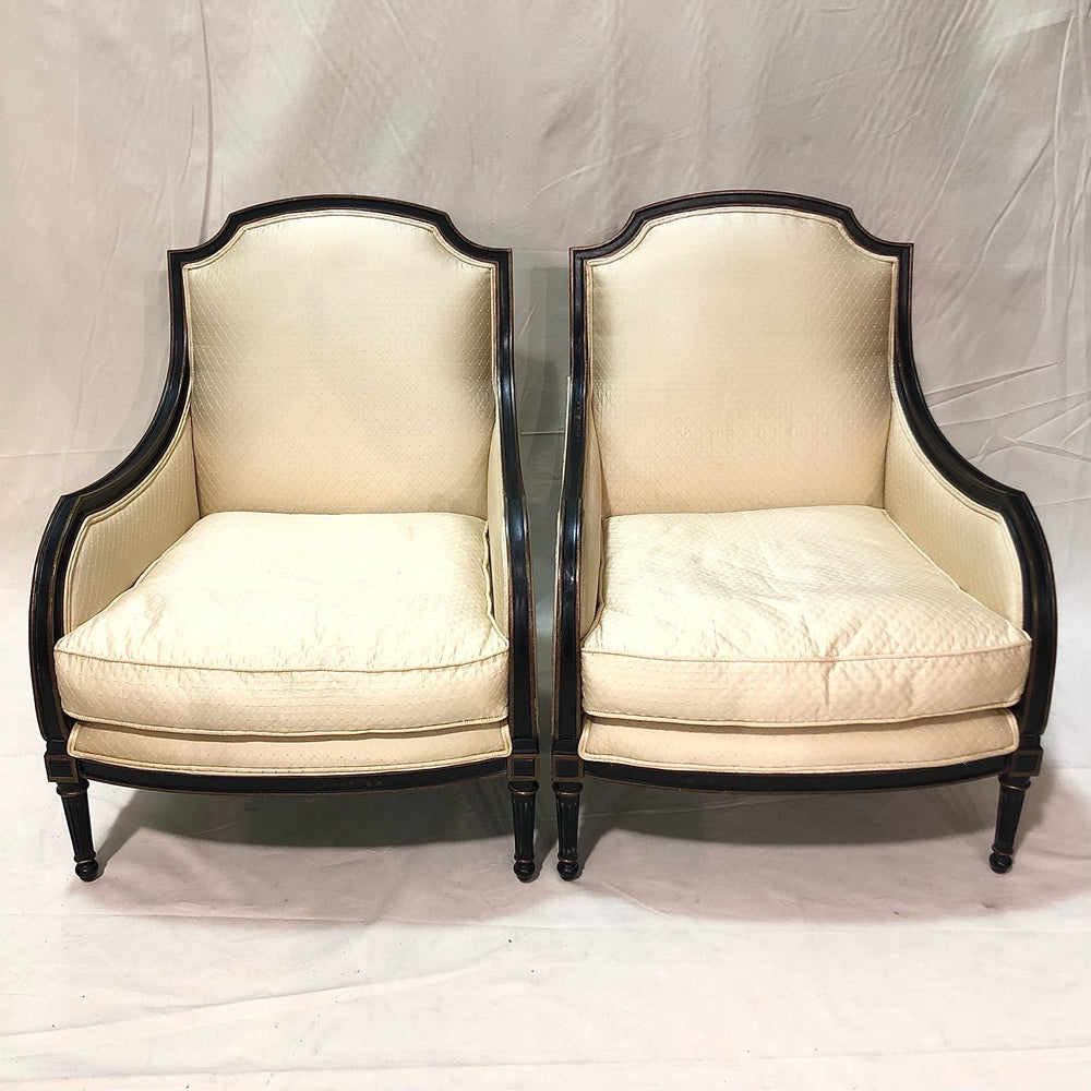 Pair of Silk Upholstered Arm Chairs