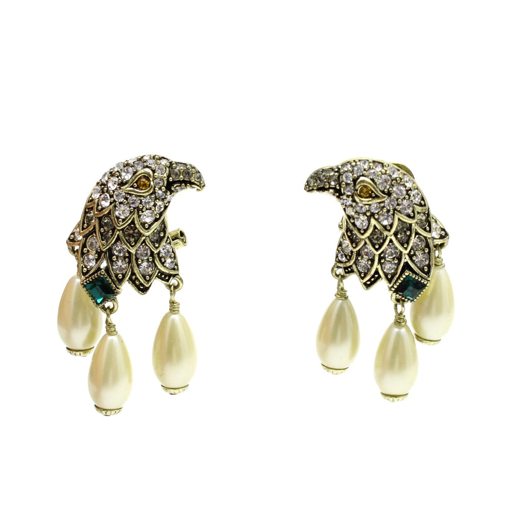 HEIDI DAUS Rhinestone and Faux Peale Eagle Drop Earrings