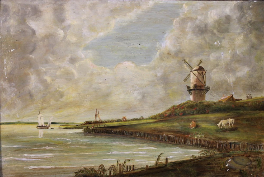 Unknown Artist - Windmill By Sea - Oil on Wood Board