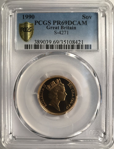 PCGS PR69DCAM 1990 ELIZABETH II PROOF GOLD SOVEREIGN