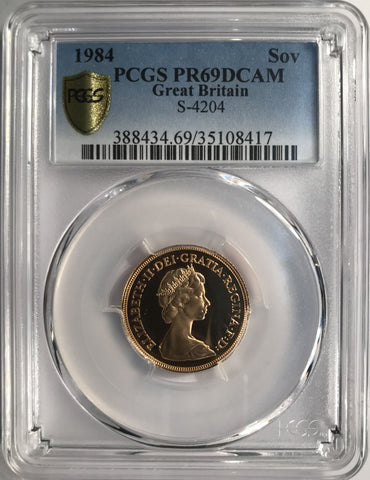 PCGS PR69DCAM 1984 ELIZABETH II PROOF GOLD SOVEREIGN