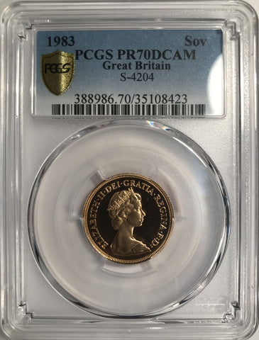 PCGS PR70DCAM 1983 ELIZABETH II PROOF GOLD SOVEREIGN