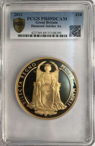 PCGS PR69DCAM 2012 ELIZABETH II DIAMOND JUBILEE PROOF 5 OZ GOLD TEN POUND
