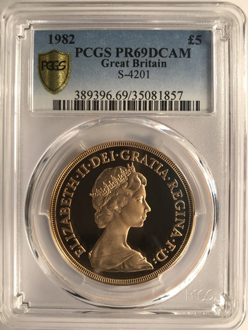 PCGS PR69DCAM 1982 ELIZABETH II PROOF GOLD FIVE POUND