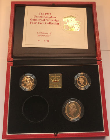 1992 GOLD PROOF THREE COIN SOVEREIGN SET (NO FIVE POUND PIECE)