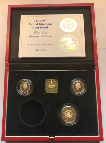 1997 GOLD PROOF THREE COIN SOVEREIGN SET (NO FIVE POUND PIECE)