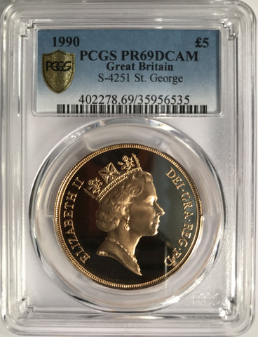 PCGS PR69DCAM 1990 ELIZABETH II PROOF GOLD FIVE POUND
