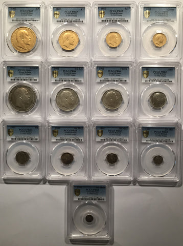 1902 MATTE PROOF GOLD & SILVER 13 COIN SET PCGS GRADED PR62-64