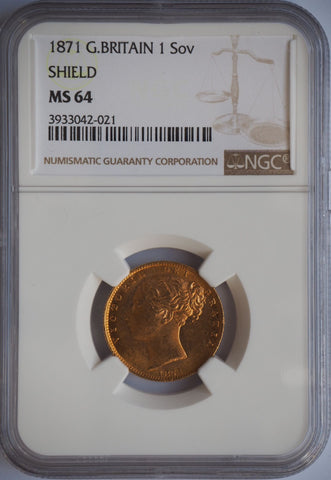 NGC MS64 1871 VICTORIA YOUNG HEAD SHIELD BACK GOLD SOVEREIGN COIN
