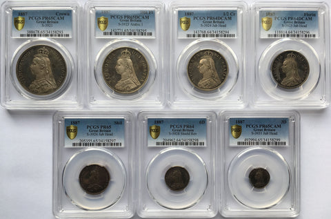 PCGS PR64-PR65DCAM 1887 QUEEN VICTORIA PROOF 7 SILVER COIN SET