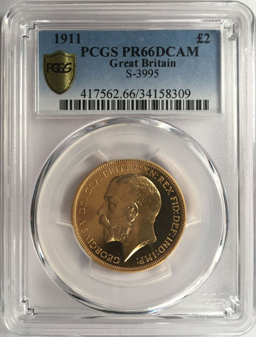 PCGS PR66DCAM 1911 GEORGE V PROOF GOLD TWO POUND