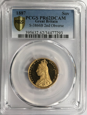 PCGS PR62DCAM 1887 VICTORIA PROOF GOLD SOVEREIGN