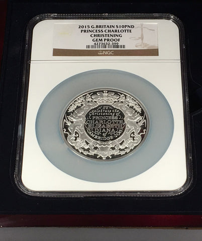 2015 PRINCESS CHARLOTTE CHRISTENING PROOF 10 POUND SILVER NGC GEM PROOF with BOX AND COA
