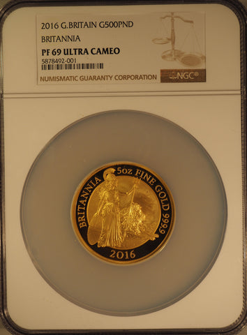 2016 Britannia Gold 5oz Proof 500 Pound NGC PF69UC