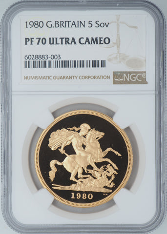 1980 Gold Five Pound Coin NGC PF70UC