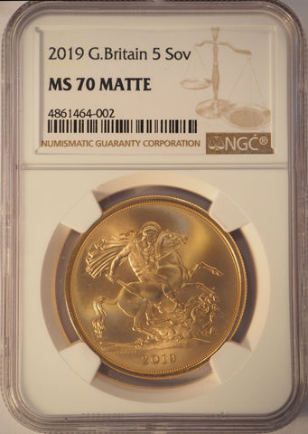 2019 GOLD £5 FIVE POUND QUINTUPLE SOVEREIGN NGC MS70 MATTE