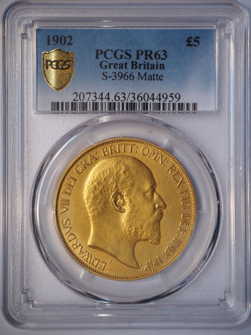 PCGS PR63 1902  EDWARD VII GOLD MATTE PROOF FIVE POUND