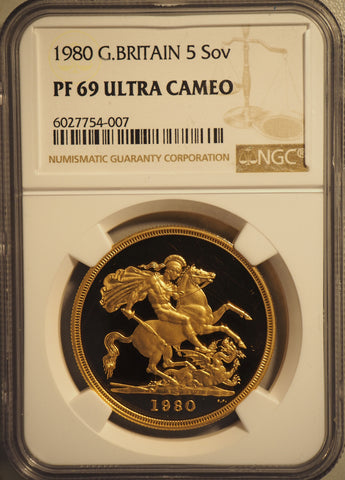 NGC PF69UCAM 1980 ELIZABETH II PROOF GOLD FIVE POUND