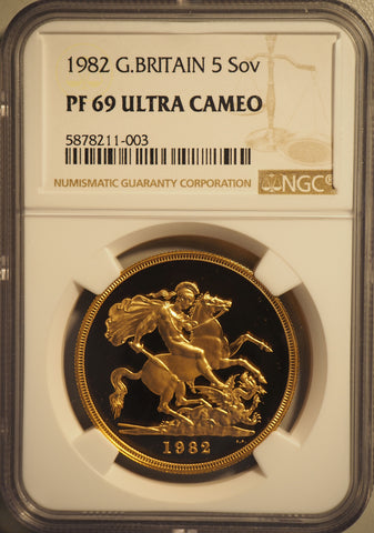 NGC PF69UCAM 1982 ELIZABETH II PROOF GOLD FIVE POUND