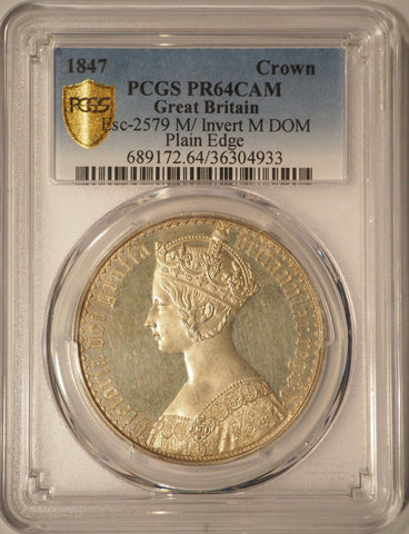 PCGS PR64CAM 1847 'GOTHIC TYPE' SILVER PROOF CROWN COIN  PLAIN EDGE, M OVER INVERTED M