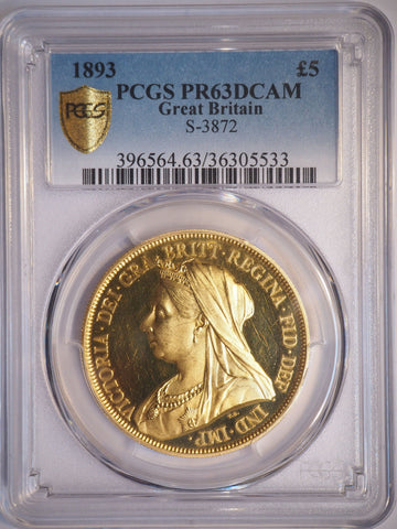 PCGS PR63DCAM 1893 VICTORIA PROOF GOLD FIVE POUND