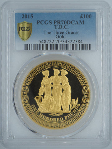 2015 TDC Three Graces ONE OUNCE GOLD PROOF £100 COIN PCGS PR70DCAM