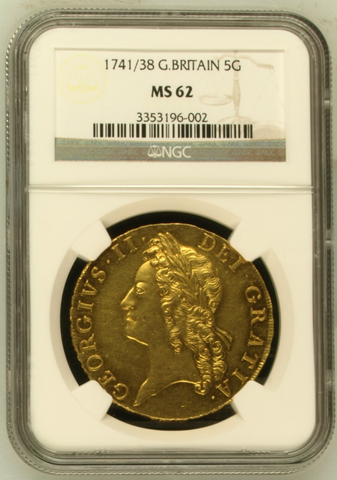 NGC MS62 1741/38 GEORGE II FIVE GUINEAS