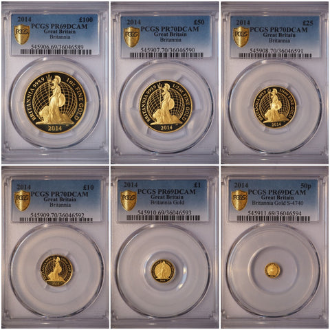 2014 BRITANNIA GOLD PROOF 6 COIN SET PCGS GRADED