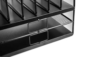 Home or Office Metal Desktop Organizer: Large Upright Letter, Folder & File Work Desk Organization System - 6 Vertical Slots & 2 Horizontal Trays for Space Saving & Organizing Paper & Supplies - Black