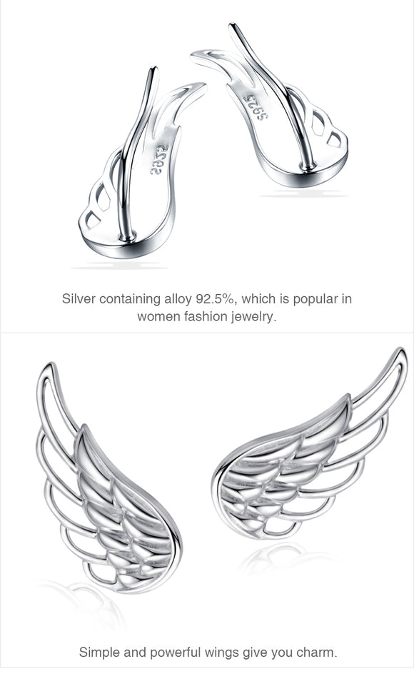 925 Sterling Silver Feather Wings Stud Earrings for Women