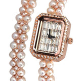 Women's Square Watch Pearl Bracelet Set