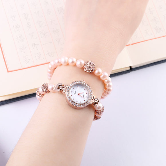 Women's Pearl Bracelet Quartz Watch Set