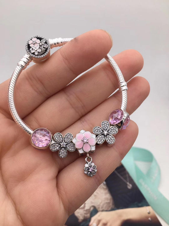 925 Sterling Silver Pink Glazed Beads Diamond Bracelet