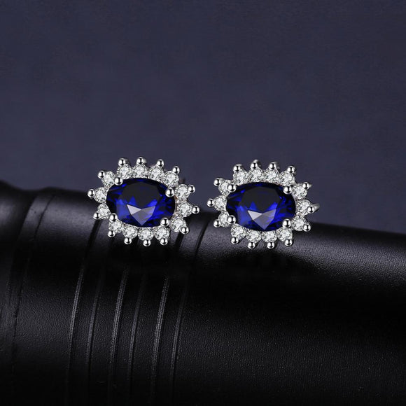 1 pair 925 Sterling Silver Sapphire Earrings