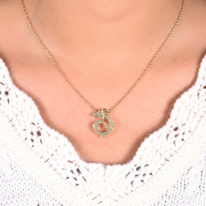 18K Gold and Diamond China Dragon Pendant Necklace