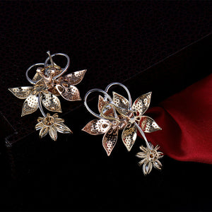 14K Multi-Tone Gold Flower Earrings