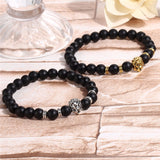 Black Lava Bead, Gold or Silver Lion Bracelet