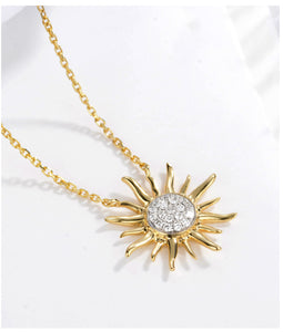 18k Gold Sun Pendant Necklace
